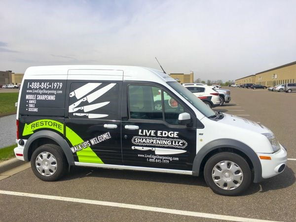 Vehicle graphics for Live Edge Sharpening in Apple Valley, MN; vinyl car wrap