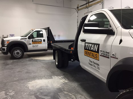 Titan Rental trucks going to SD and WY. Graphics installed here at our shop.