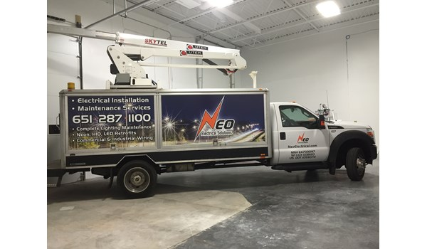 NEO Electrical Solutions Truck Vinyl Wrap, Eagan MN