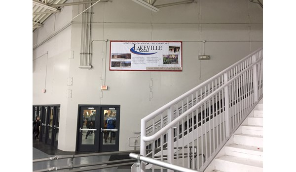 Fabric hanging banner, Lakeville Arenas