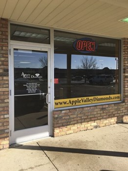 Vinyl window graphics for Apple Valley Diamonds in Apple Valley MN