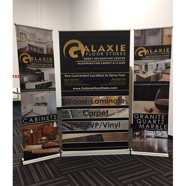 2 and 4 foot Retractor Banner Stands for Galaxie Flooring in Apple Valley MN